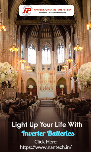 A Grandiose Lighting Effect of a Church Wedding Event Depicts The Inverter Batteries Concept.